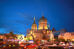 Night scene of Saint Sophia Cathedral inChina Stock Images