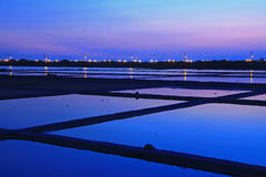 Night Scene of Salt Pan in Tainan, Taiwan Stock Photo