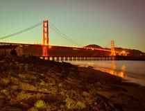 Night scene in San Francisco. Golden Gate Bridge, one of the landmarks in California Stock Photos