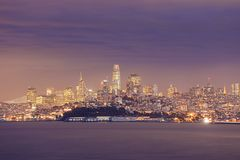 Night scene of San Francisco across the bay Stock Image