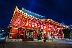 Night scene of Sensoji Temple in Tokyo Stock Photo