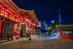 Night scene of Sensoji Temple in Tokyo Stock Images