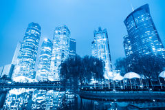 Night scene of shanghai central green land Stock Image