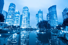 Night scene of shanghai central greenbelt Royalty Free Stock Photography