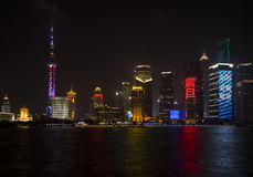 Night Scene of Shanghai City and Huang-pu River Royalty Free Stock Photos
