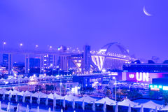 Night Scene of shanghai EXPO Stock Photo