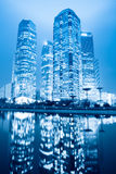 Night scene of shanghai financial center greenbelt Stock Images