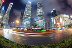 Night scene of shanghai with fish-eye view Stock Image