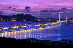 Night Scene of Shenzhen Bay Bridge Royalty Free Stock Image