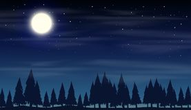 Night scene with silhouette woods. Illustration vector illustration