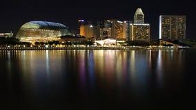 Night scene of Singapore Marina bay skyline area in CBD stock photos