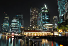 A night scene of Singapore skyline and river Royalty Free Stock Photography