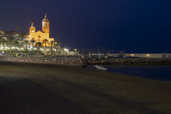 Night scene in Sitges, Spain Royalty Free Stock Photo