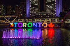 Night scene skyline of Toronto Ontario Canada stock images