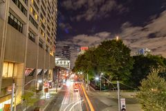 Night scene skyline of Toronto Ontario Canada royalty free stock image