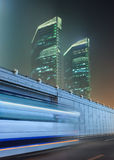 Night scene with skyscrapers and traffic in motion blur, Beijing, China Stock Images