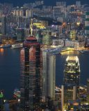 Night Scene of Skyscrapers at Victoria Harbour Royalty Free Stock Images