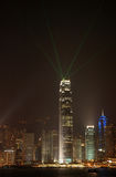 Night scene of skyscrpaer in Hong Kong Stock Photography