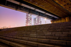 Night scene of stairs and bridge with building in Seoul Stock Photo
