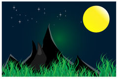 Night scene with stars and moon light vector illustration Royalty Free Stock Image