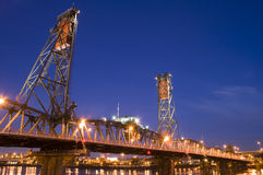 Night Scene of Steel Bridge in Portland, Oregon. Royalty Free Stock Photos