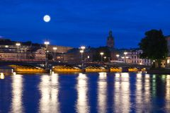 Night scene of the Stockholm Stock Photography