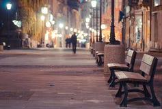 Night scene. Night street scene in Bucharest old city Stock Photos