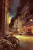Night scene of a street in city with colorful light Stock Photo