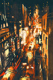 Night scene of a street in city. Illustration painting Stock Photography