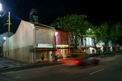 Night scene on street in Singapore Stock Photos