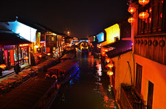 Night scene of Su Zhou (SuZhou) China. In Wu town river, people were celebrating the Chinese new year Royalty Free Stock Photos