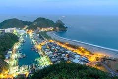 Night scene of Suao Harbor in Taiwan Stock Photos