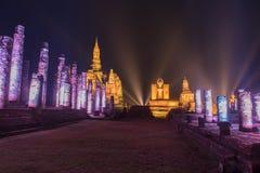 Night scene of Sukhothai historical park, Mahathat Temple ,Thailand. Royalty Free Stock Photo