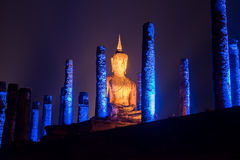 Night scene of Sukhothai historical park, Mahathat Temple ,Thailand. Royalty Free Stock Image