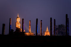 Night scene of Sukhothai historical park, Mahathat Temple ,Thailand. Stock Image