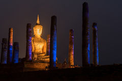 Night scene of Sukhothai historical park, Mahathat Temple ,Thailand. Royalty Free Stock Images