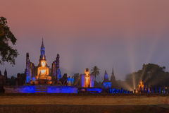 Night scene of Sukhothai historical park, Mahathat Temple ,Thailand. Stock Images
