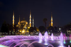 Night scene in Sultanahmet with glowing fountain Royalty Free Stock Photo