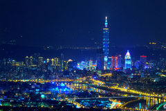 Night scene of Taipei city Stock Photography