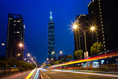 Night scene of Taipei city Stock Photos