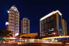 Night scene of  Taipei city. Night scene of office buildings in new Taipei city, Taiwan Royalty Free Stock Image
