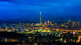 Night scene of Taipei, Taiwan Stock Photography