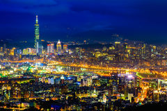 Night scene of Taipei, Taiwan Stock Images