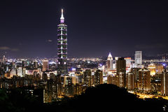 Night scene of TAIPEI 101 tower Stock Photos