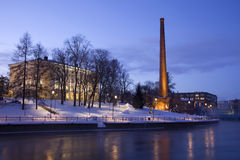 Night Scene of Tampere. Tammerkoski at night in winter of Tampere city, Finland Stock Images
