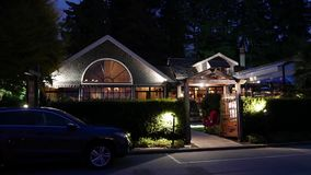 Night scene Teahouse restaurant at Stanley Park. In Vancouver BC Canada stock footage