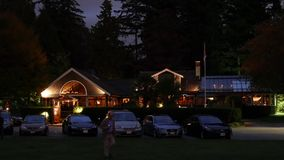 Night scene Teahouse restaurant at Stanley Park stock video footage