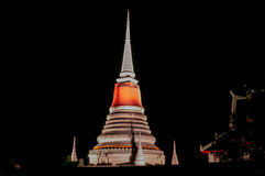 Night scene Thai Pagoda Stock Photos