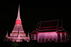 Night scene Thai Pagoda Royalty Free Stock Photography