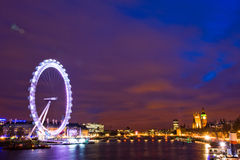 Night scene of the thames river. On new year's eve, the night scene along the thames river are very impressive Royalty Free Stock Photos